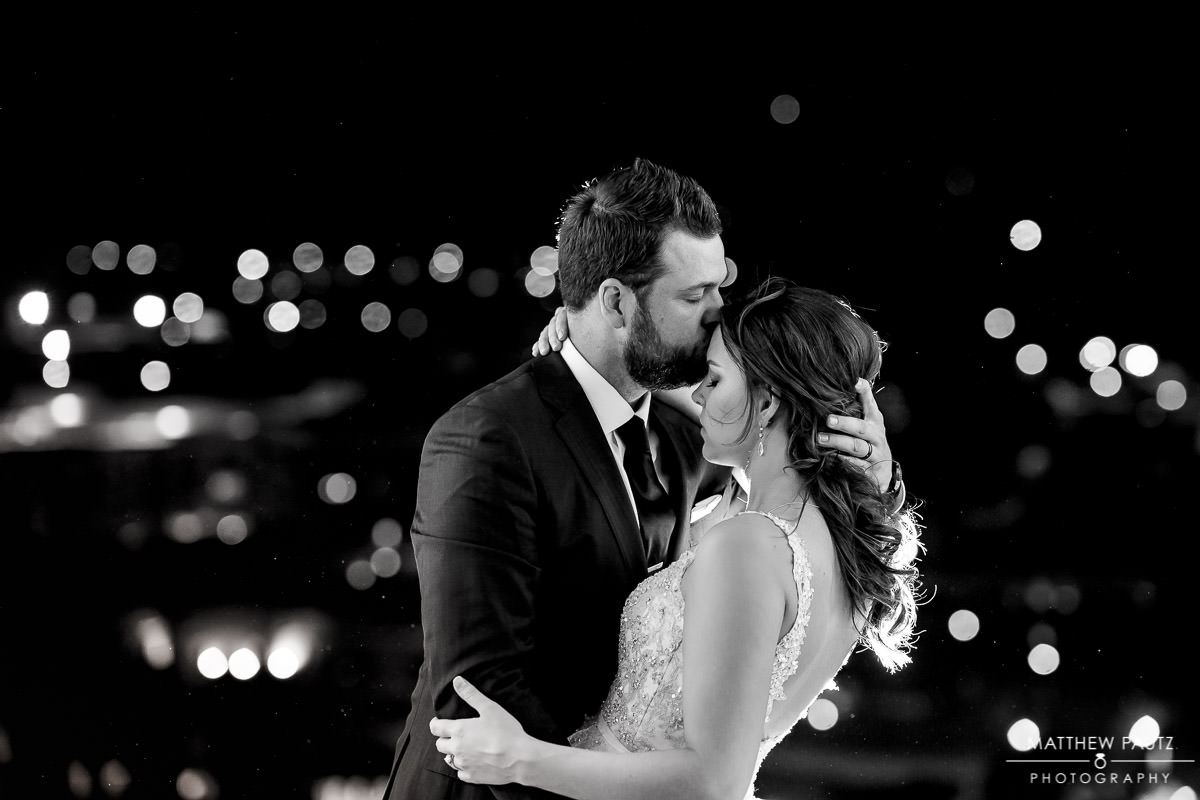 rooftop wedding photos at night
