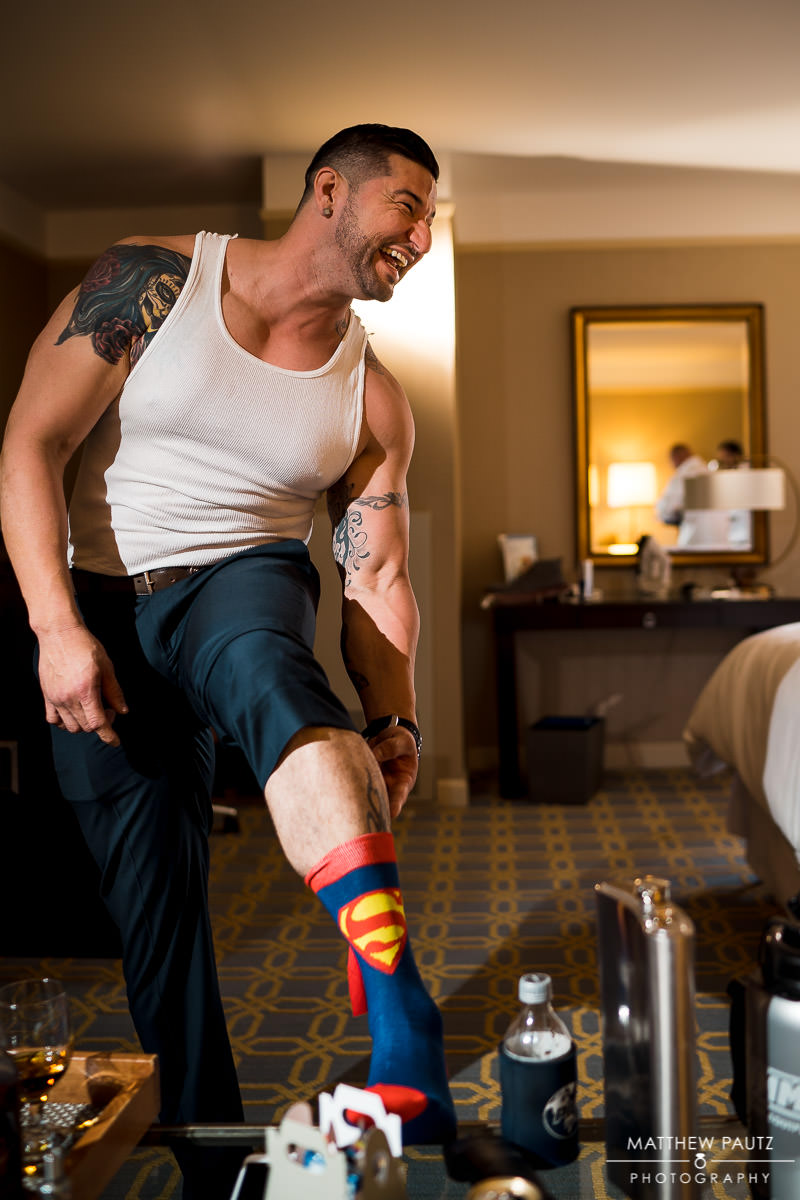 Groomsman with superman socks