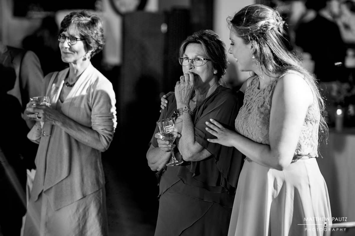 family reactions to wedding speeches at reception