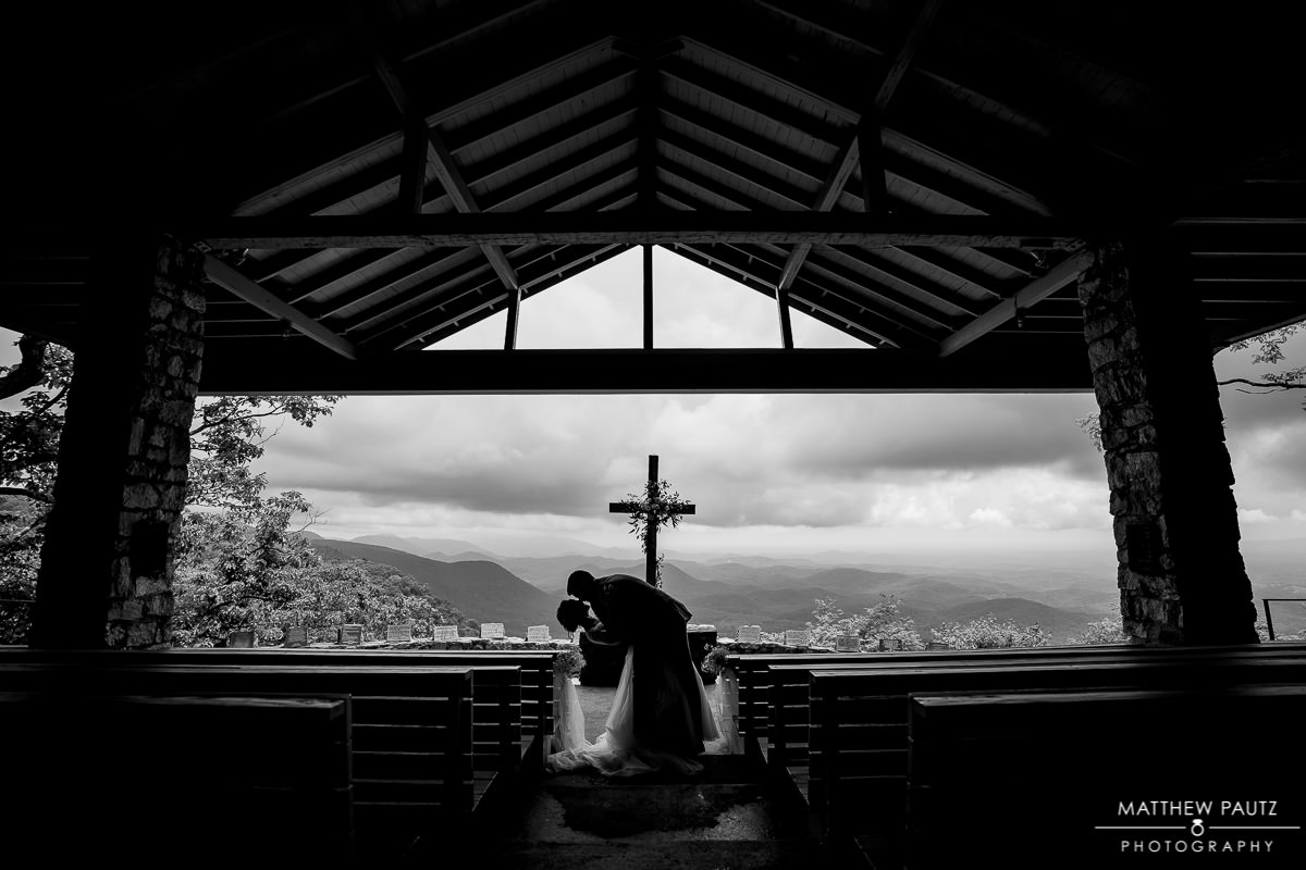 rainy wedding at Fred Symmes chapel