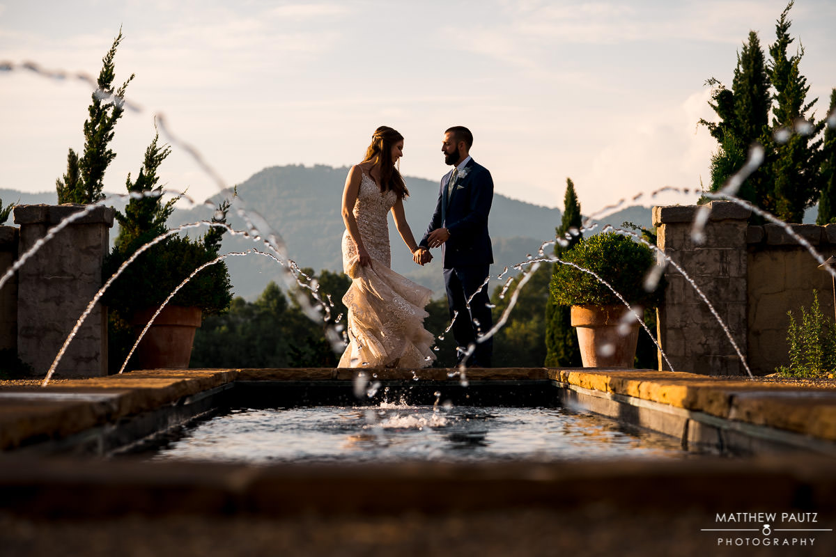 sunset wedding photos at hotel domestique in Traveler's Rest