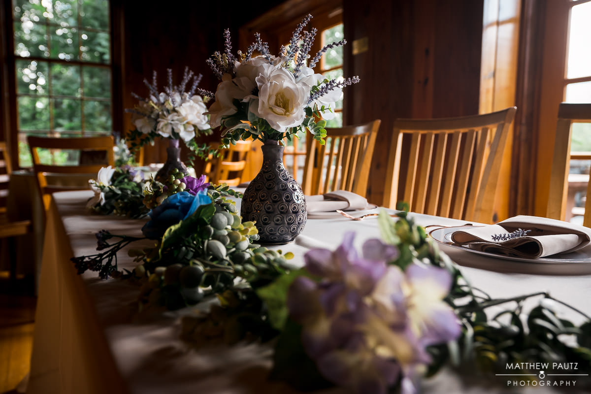 wedding decorations and flowers at table rock lodge