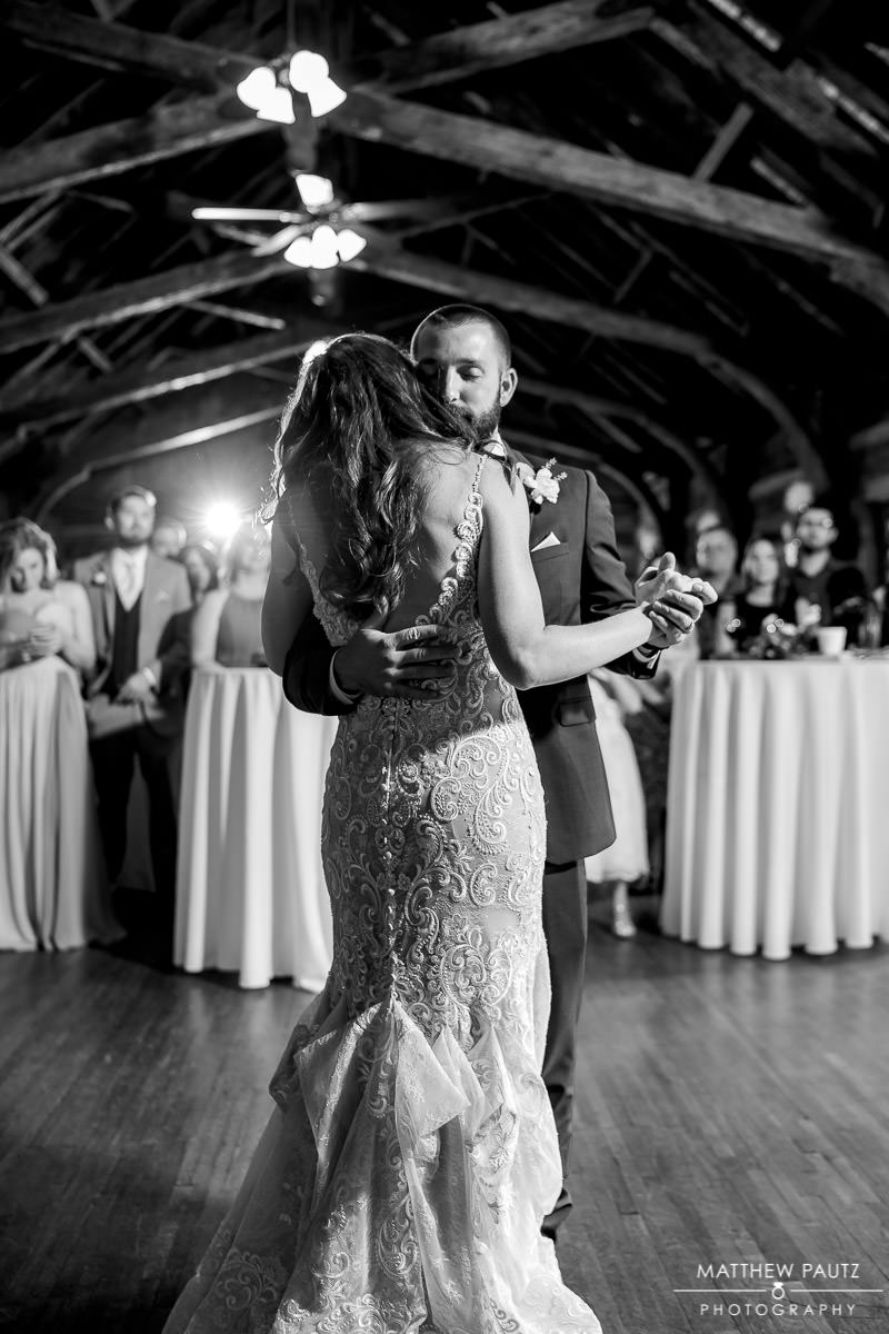 bride and groom's first dance together at Table Rock Lodge