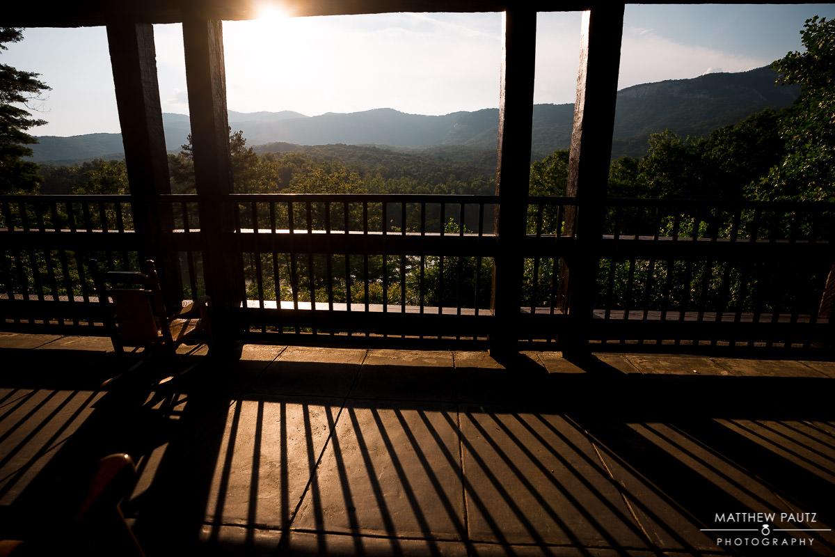 Table rock state park lodge view at sunset