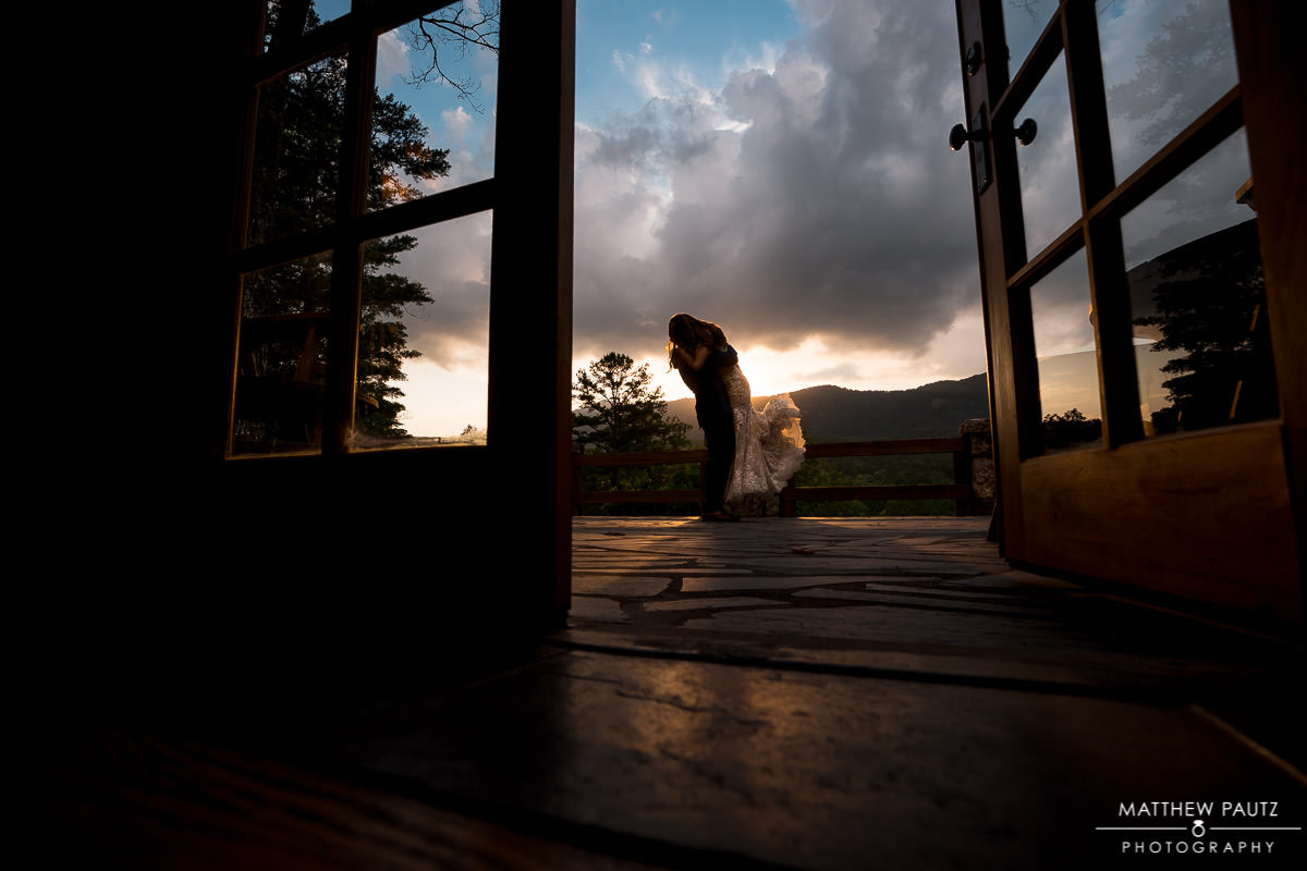sunset mountain wedding at table rock lodge