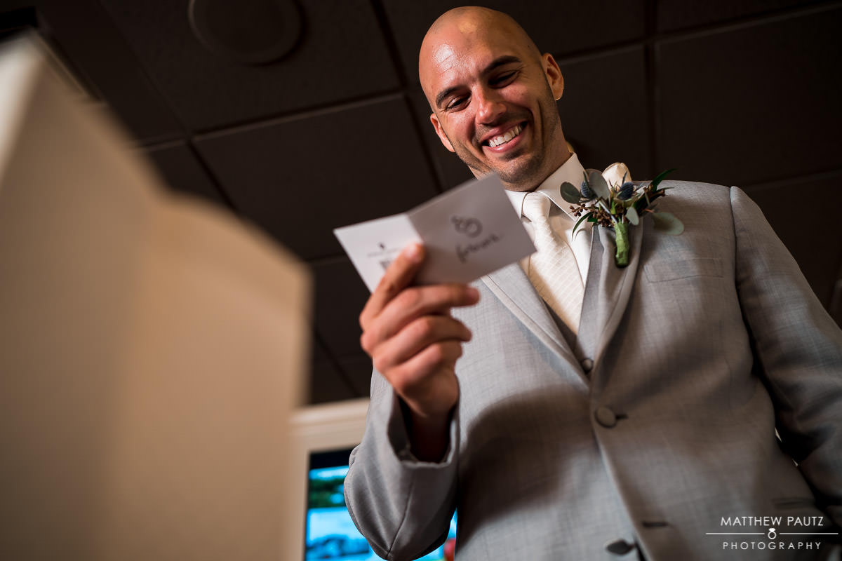 Groom reading letter before wedding