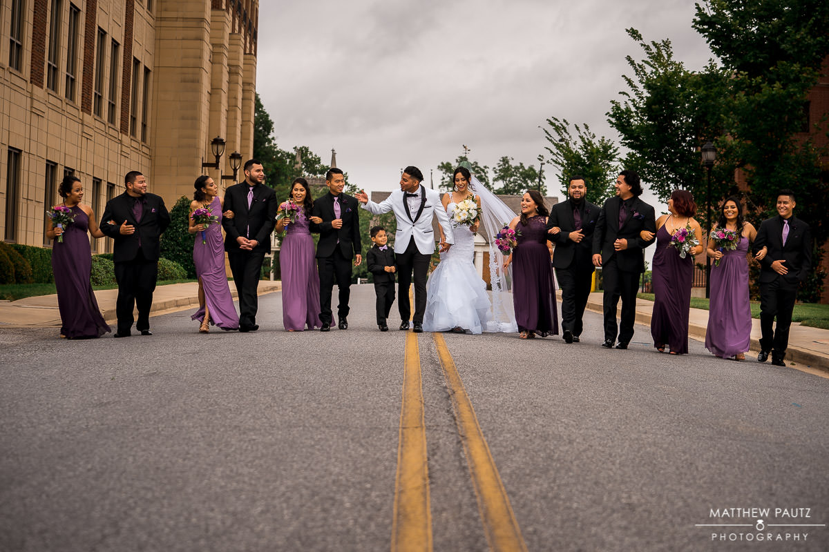 wedding party group photo in downtown spartanburg sc