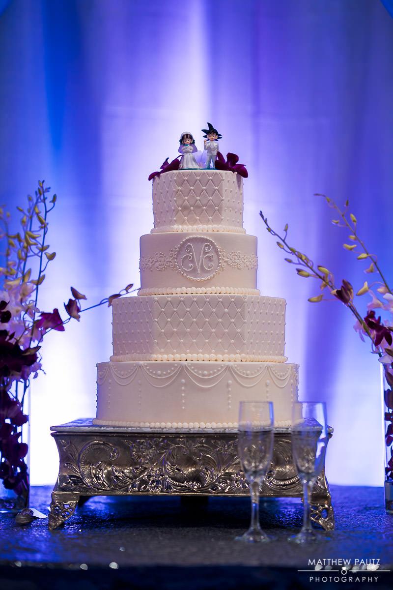 unique wedding cake with dragon ball z cake topper