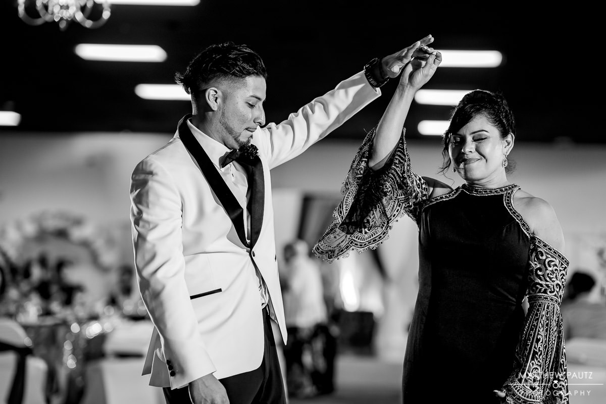 groom dancing with his mother at the greenville shrine club