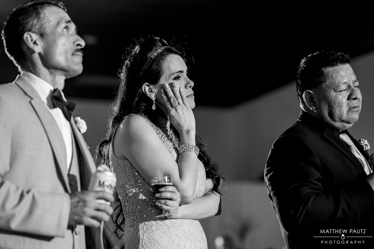family member crying during wedding toasts at Greenville Shrine Club