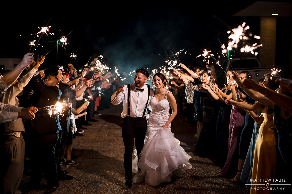 Sparkler exit after reception at The Greenville Shrine Club