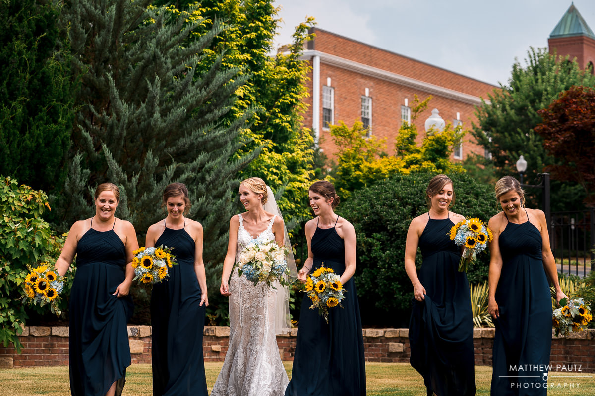 bridal party photos at Indigo Hall, Spartanburg SC