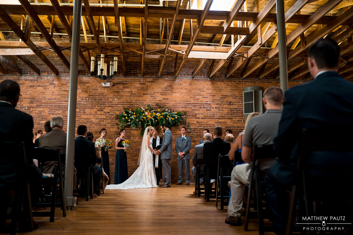 Indigo Hall indoor wedding ceremony