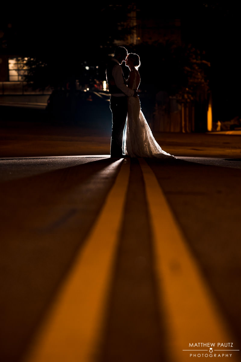 backlit night wedding photos