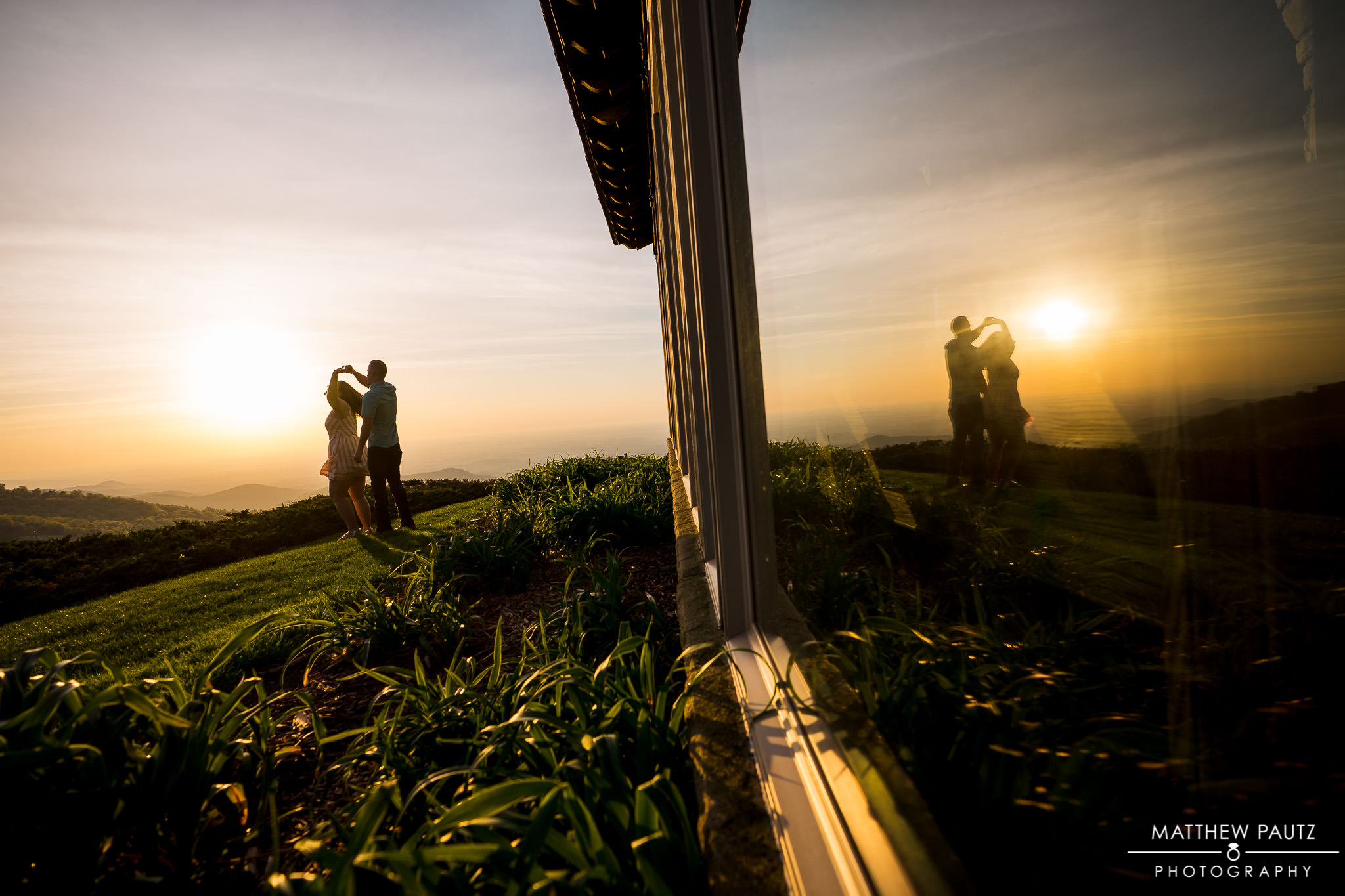 Sunrise engagement at Cliffs at Glassy Chapel