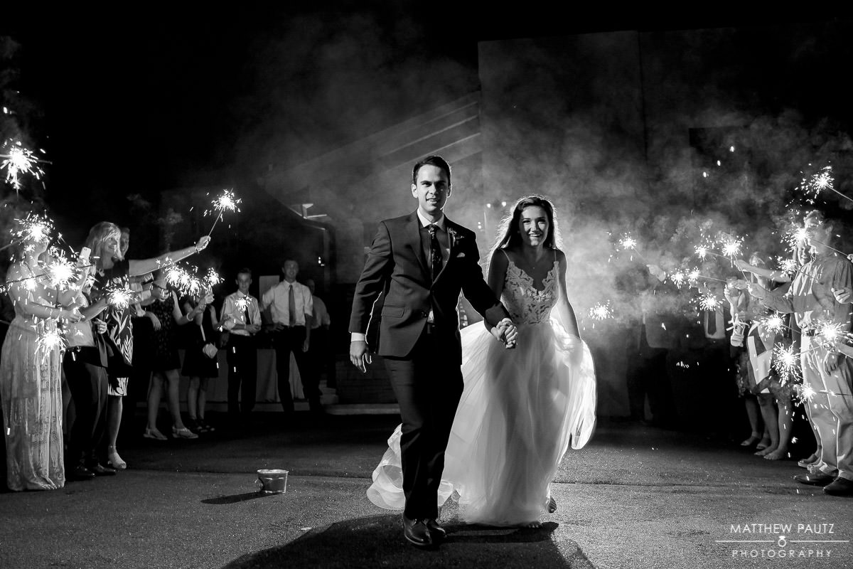 sparkler exit after ceremony at The Rutherford