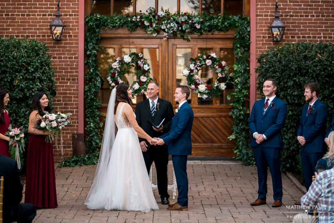 Wedding ceremony photos at the bleckley inn