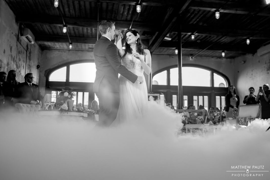 smoke at wedding reception first dances
