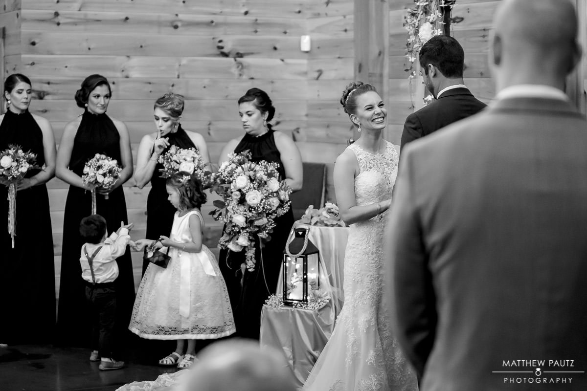 Wedding ceremony at Windy Hill event barn