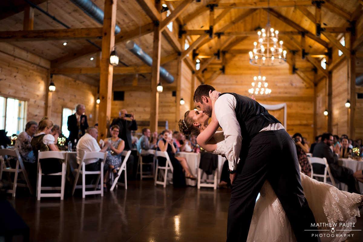 Bride and groom's first dance at Windy Hill Barn