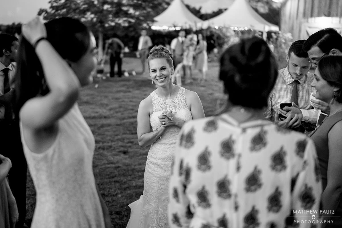 bride mingling with guests during reception