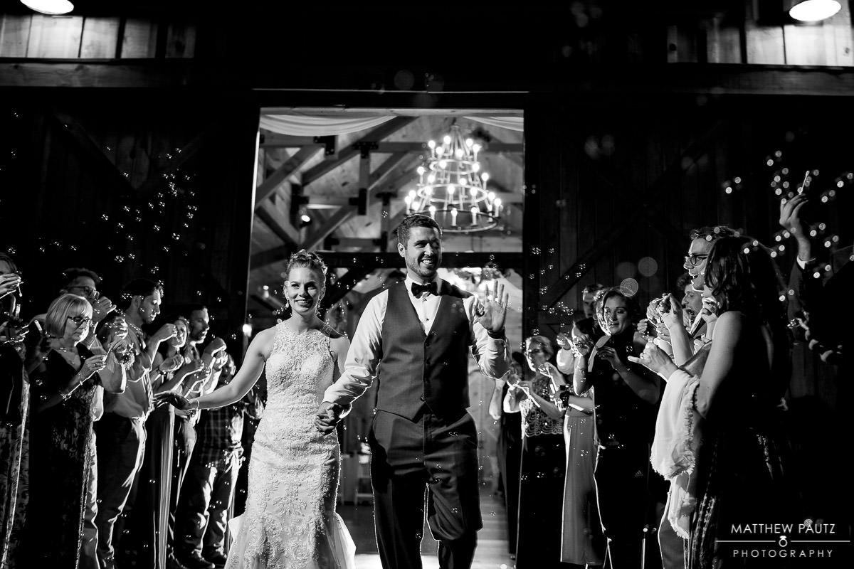 Sparkler exit after wedding at Windy hill barn