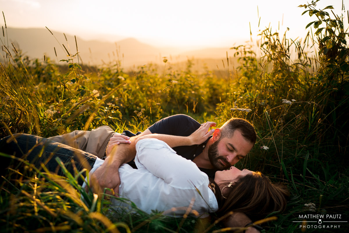 engagement photo in tall grass
