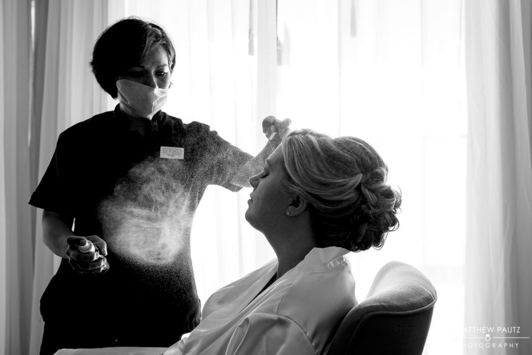 bride getting ready for destination wedding ceremony