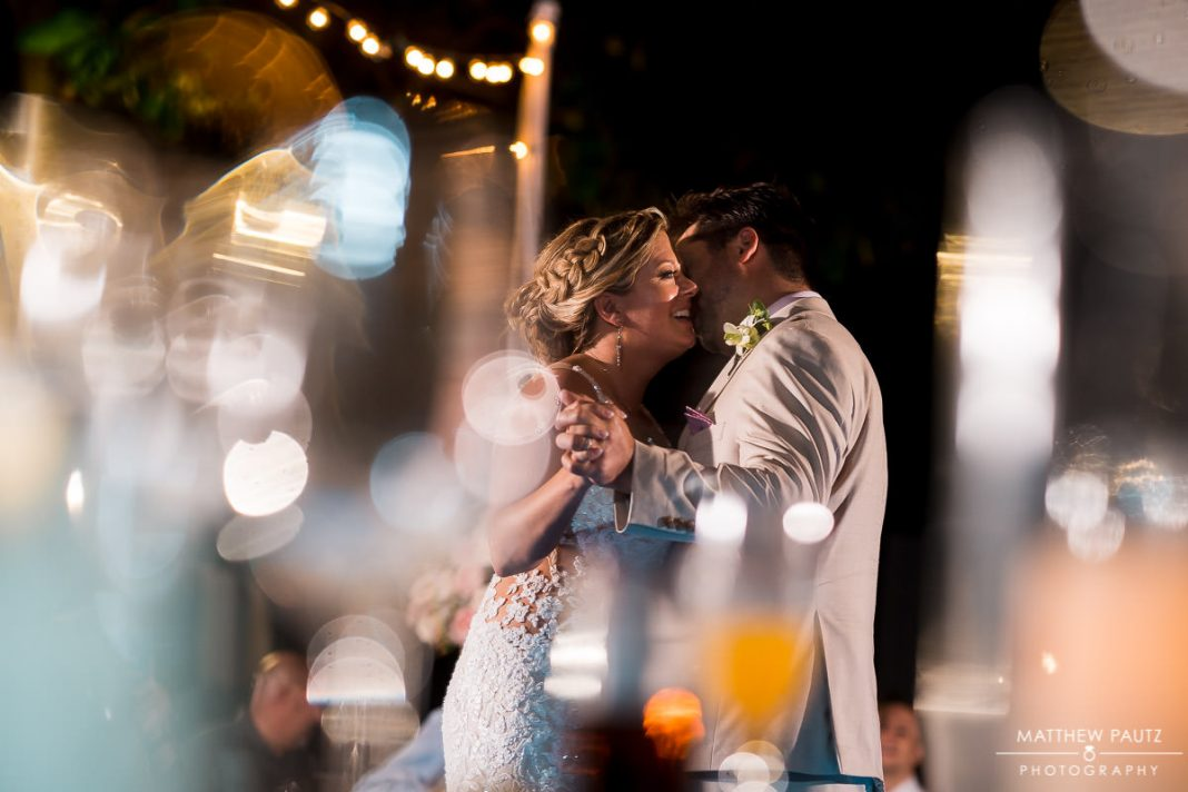 bride and groom's first dance at destination wedding reception