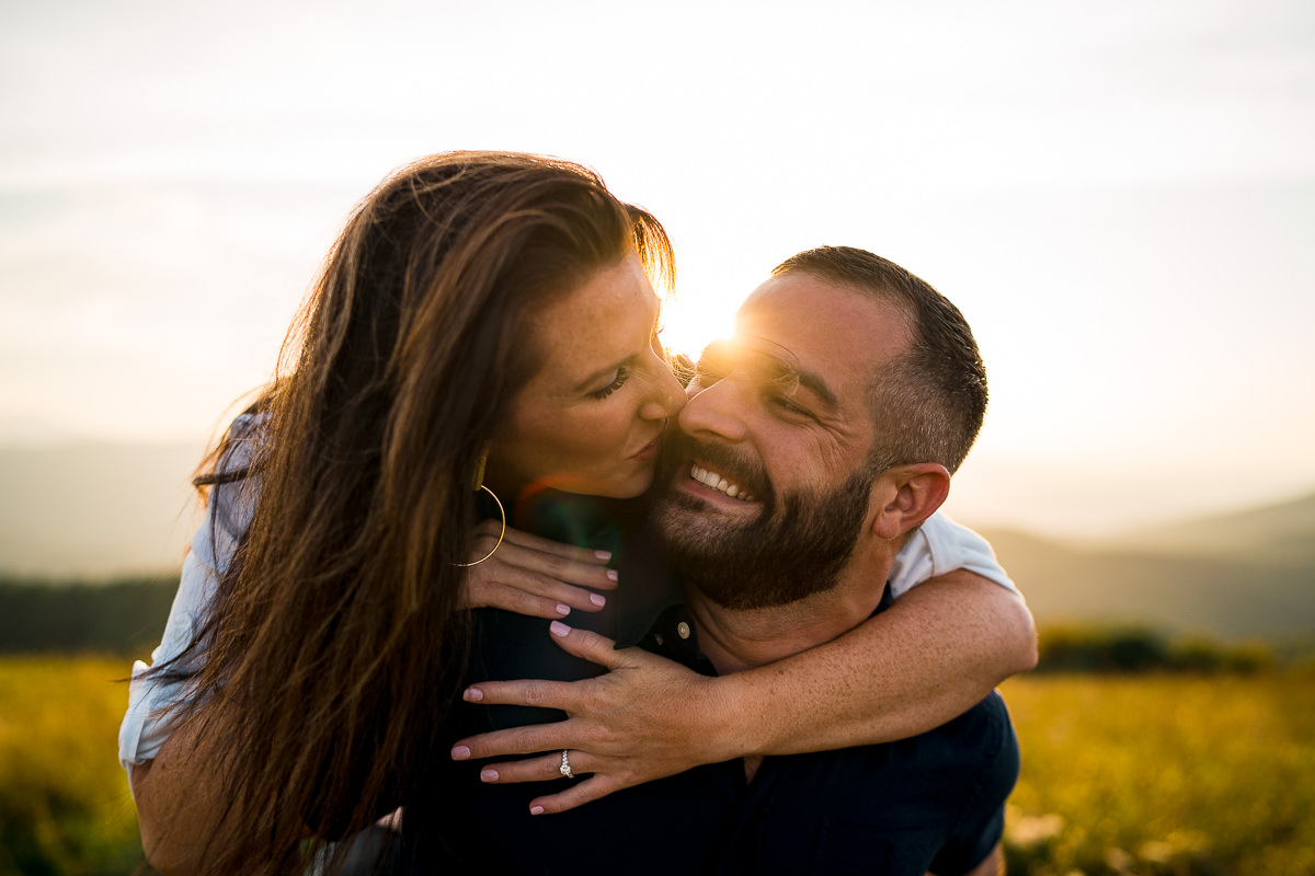 Mountain sunset engagement photos