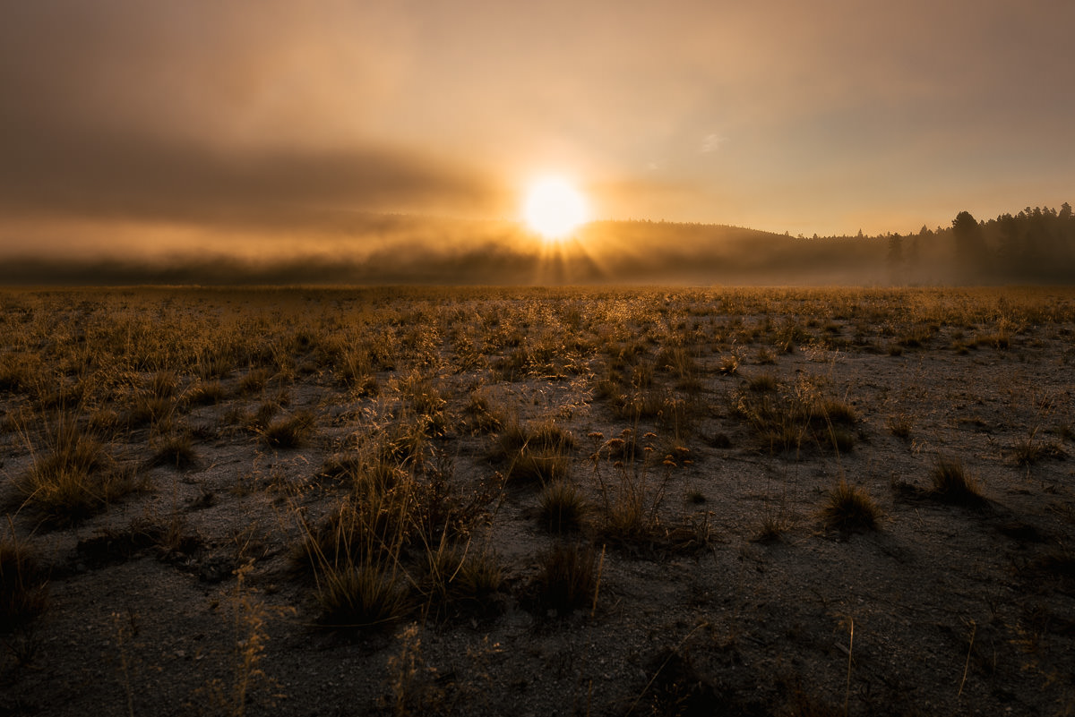 Yellowstone sunrise landscape photo
