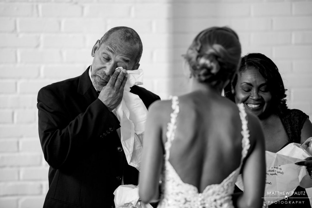 father of bride crying after seeing bride for the first time
