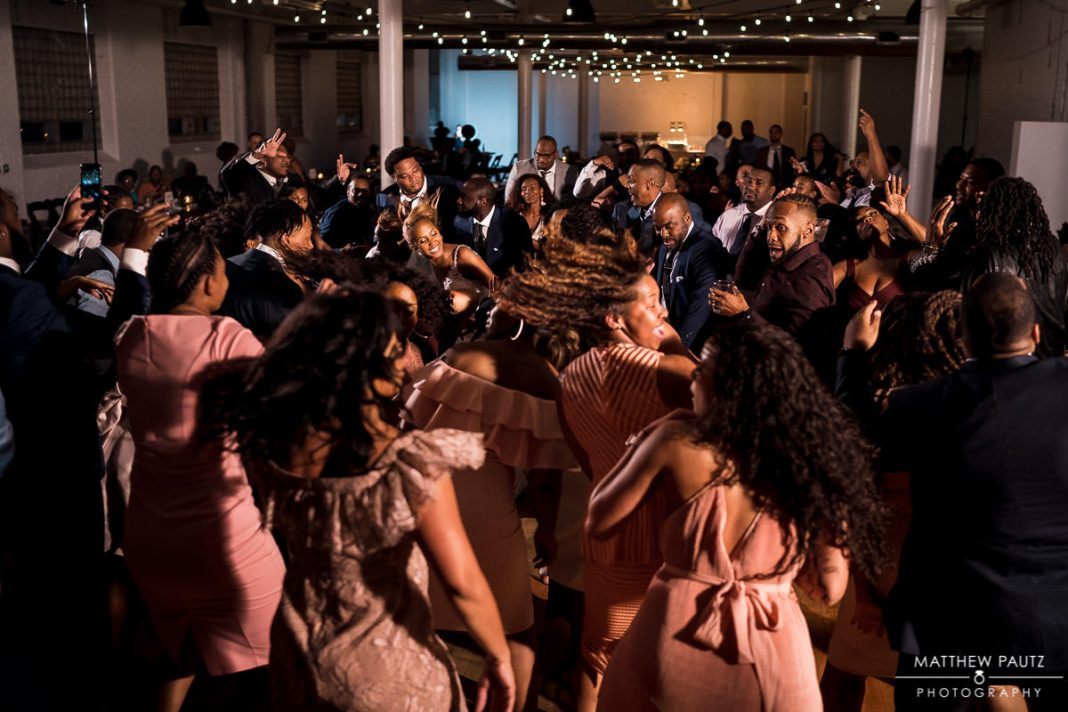 sorority dancing at wedding reception