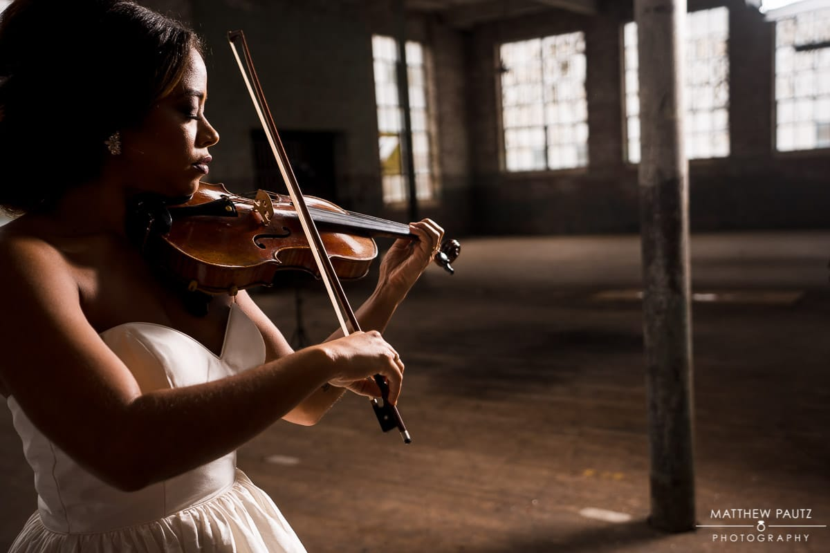 Violinist bridal portraits at The Taylors Mill
