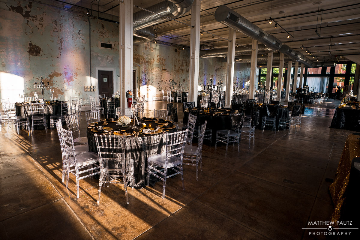 Large wedding reception decorations and setup