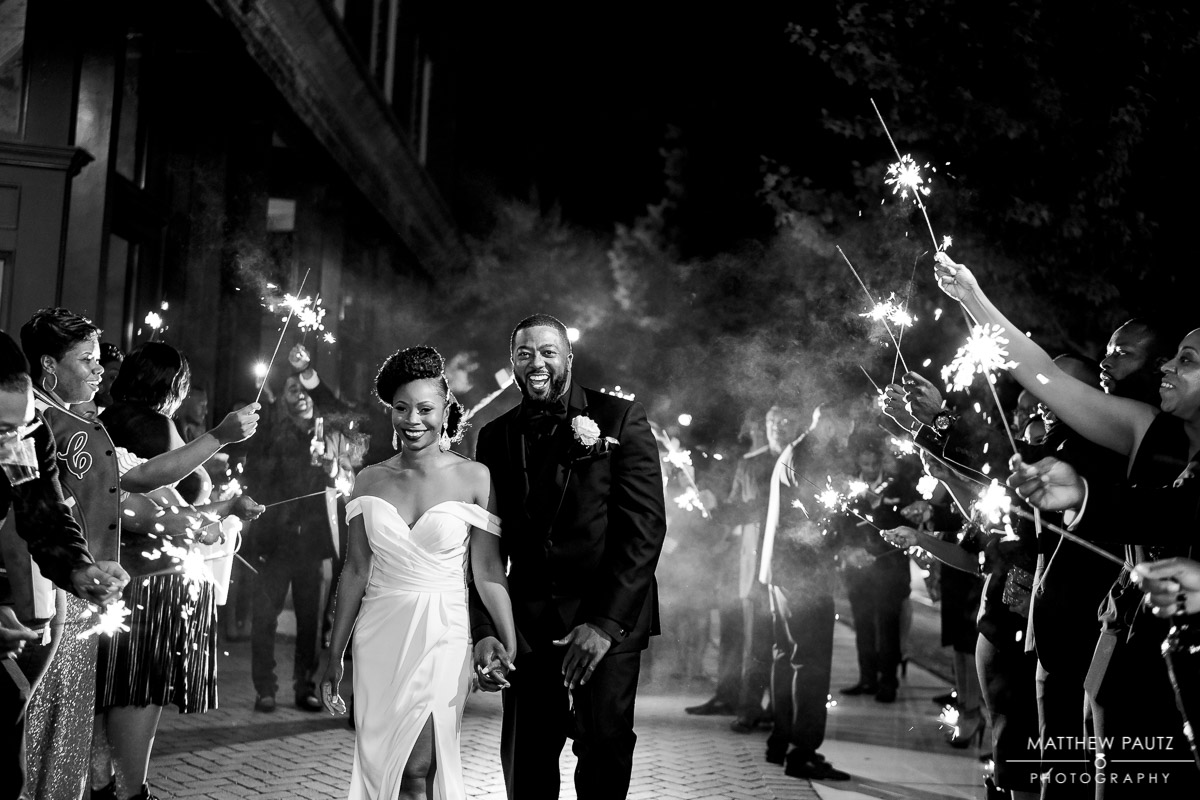 Sparkler exit after wedding at 701 Whaley