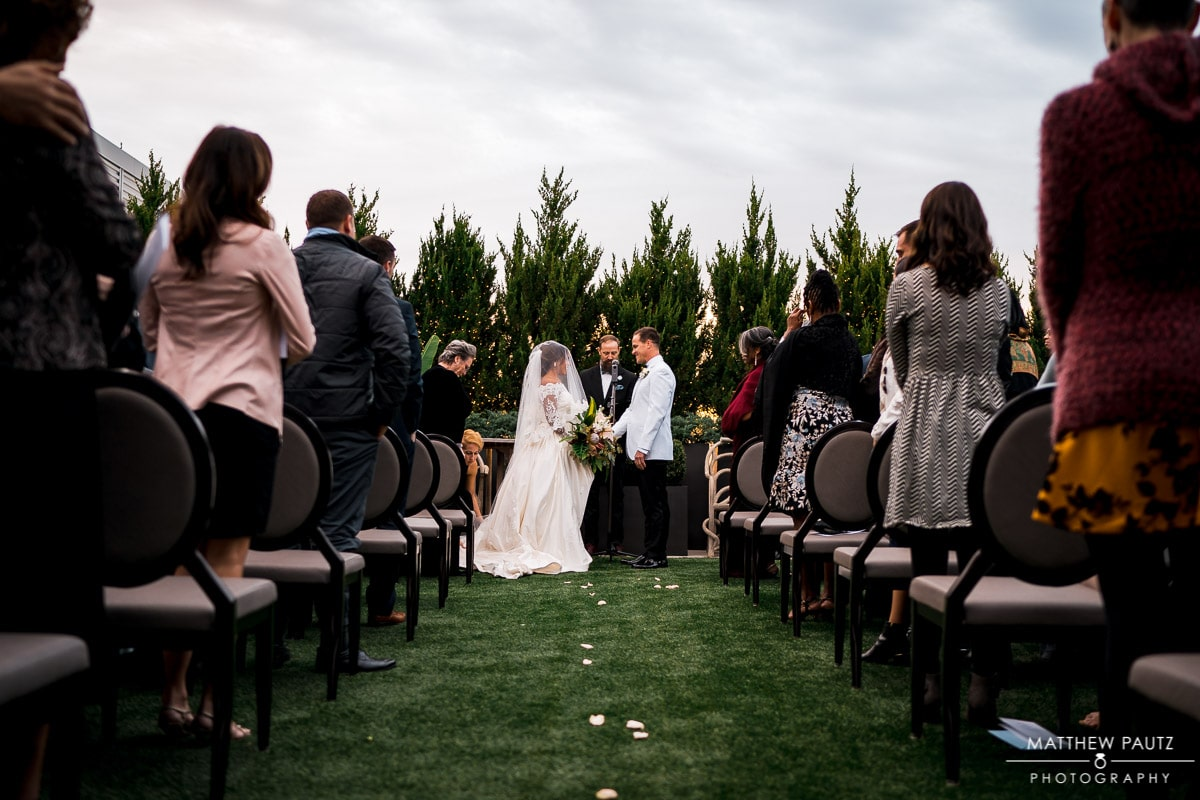 Rooftop wedding ceremony at Avenue