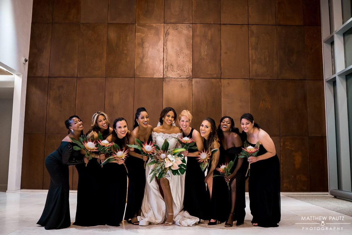 Bridal party wedding photos after ceremony
