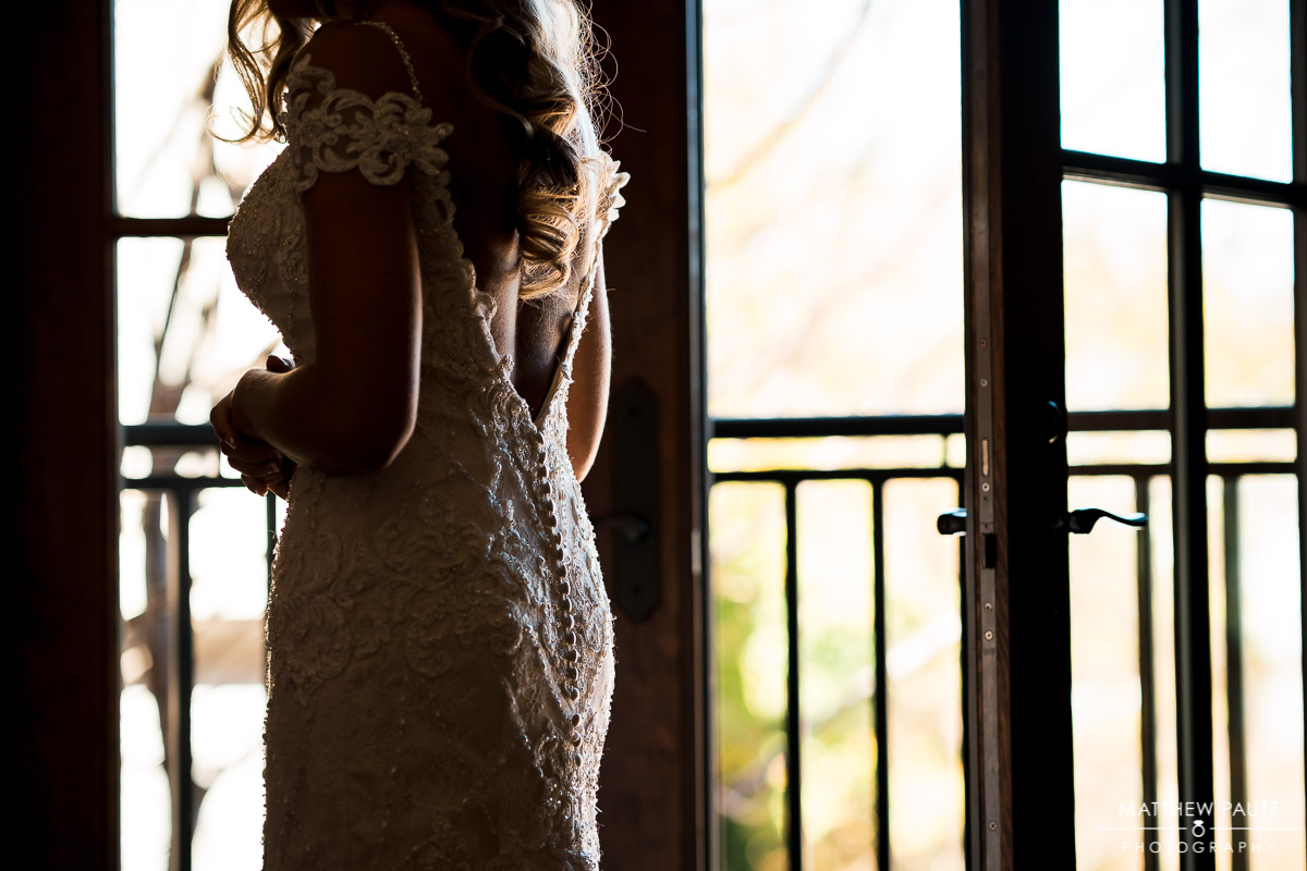 Photo of the Back of bride's wedding dress