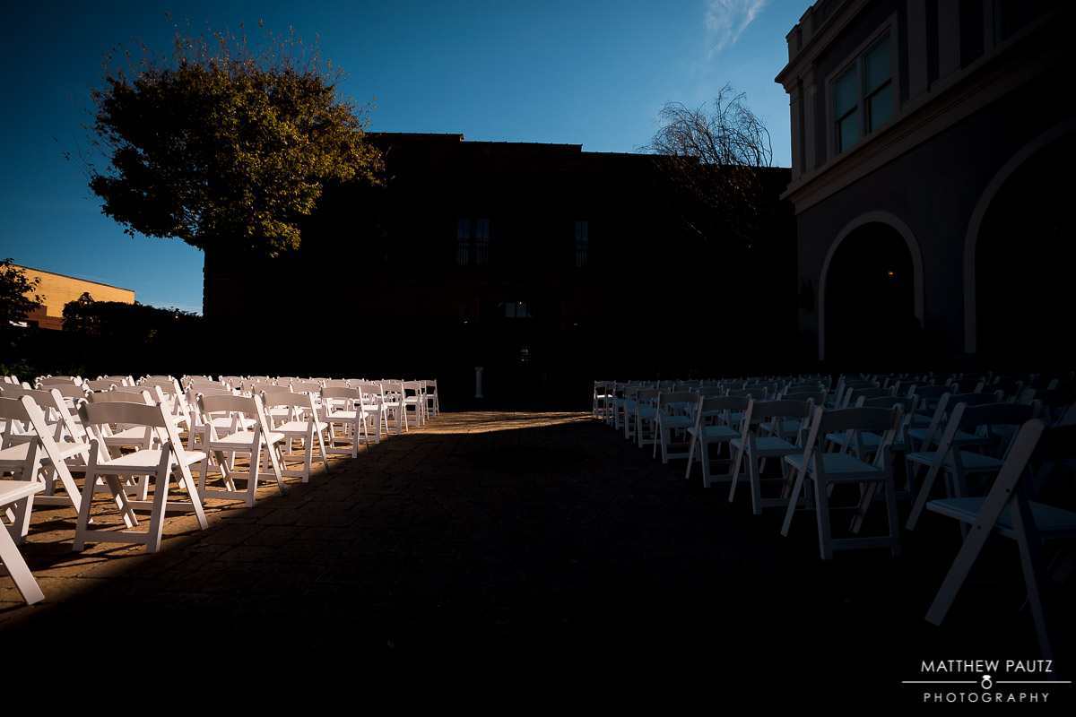 Outdoor wedding Ceremony setup at The Bleckley Inn