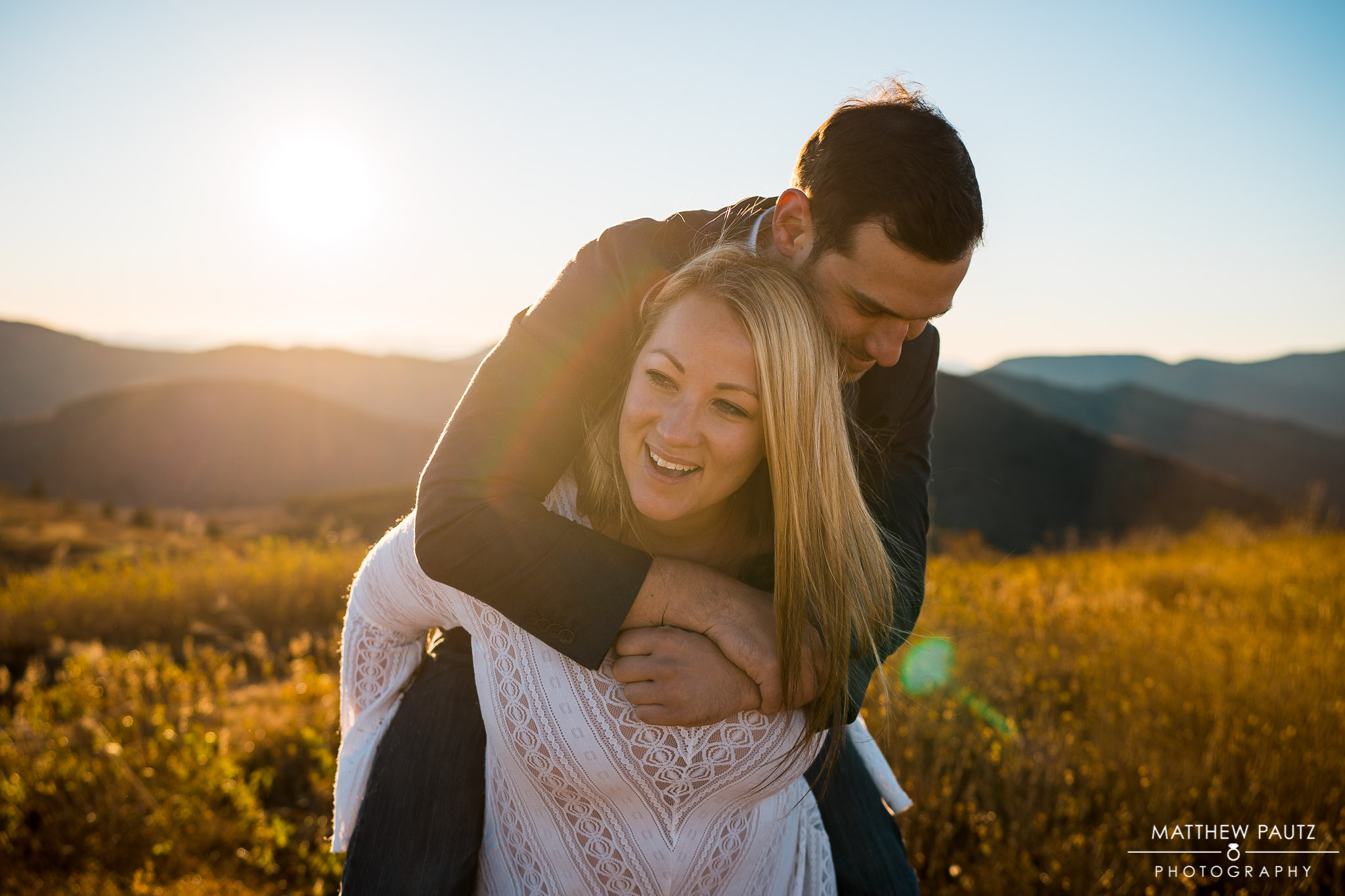 Funny engagement photos in the mountains
