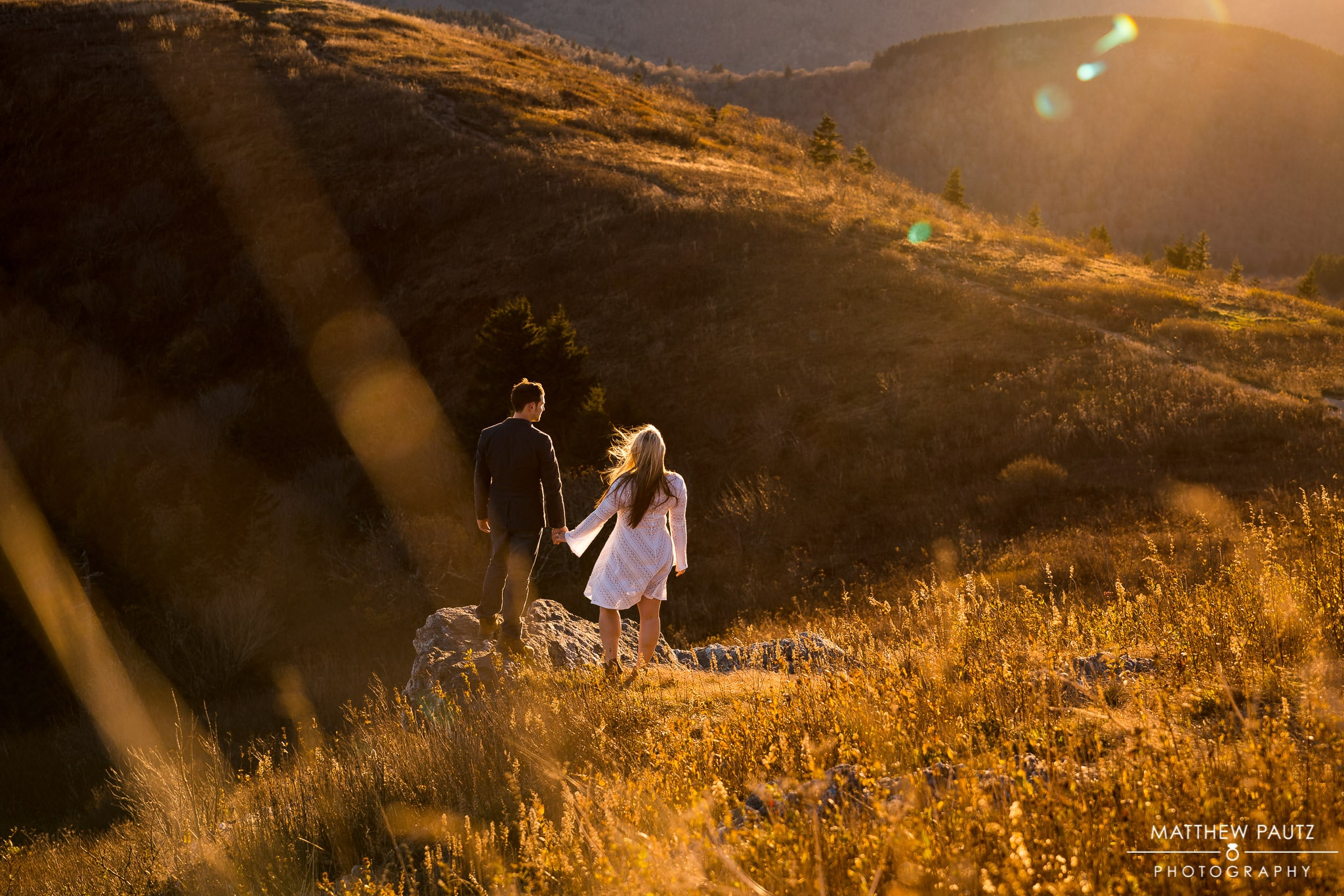 Sunset engagement photos in the Blue Ridge mountains
