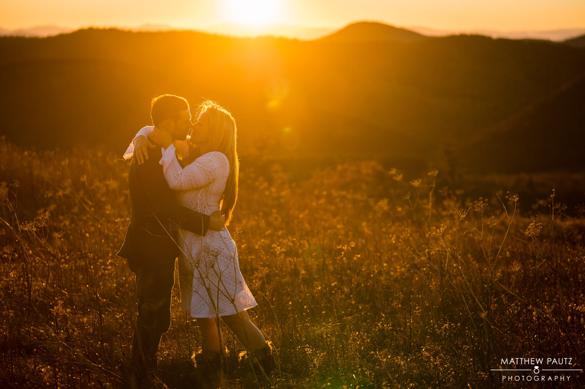 Sunset engagement photos in the mountains of NC