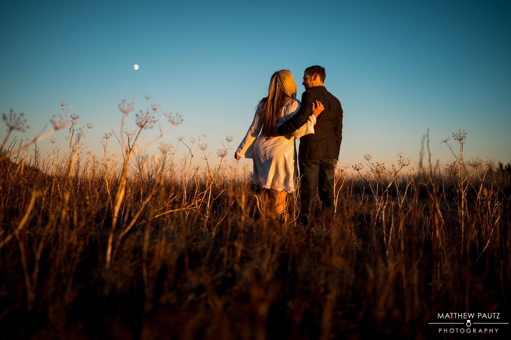 engagement photos taken after sunset in the Blue Ridge Mountains