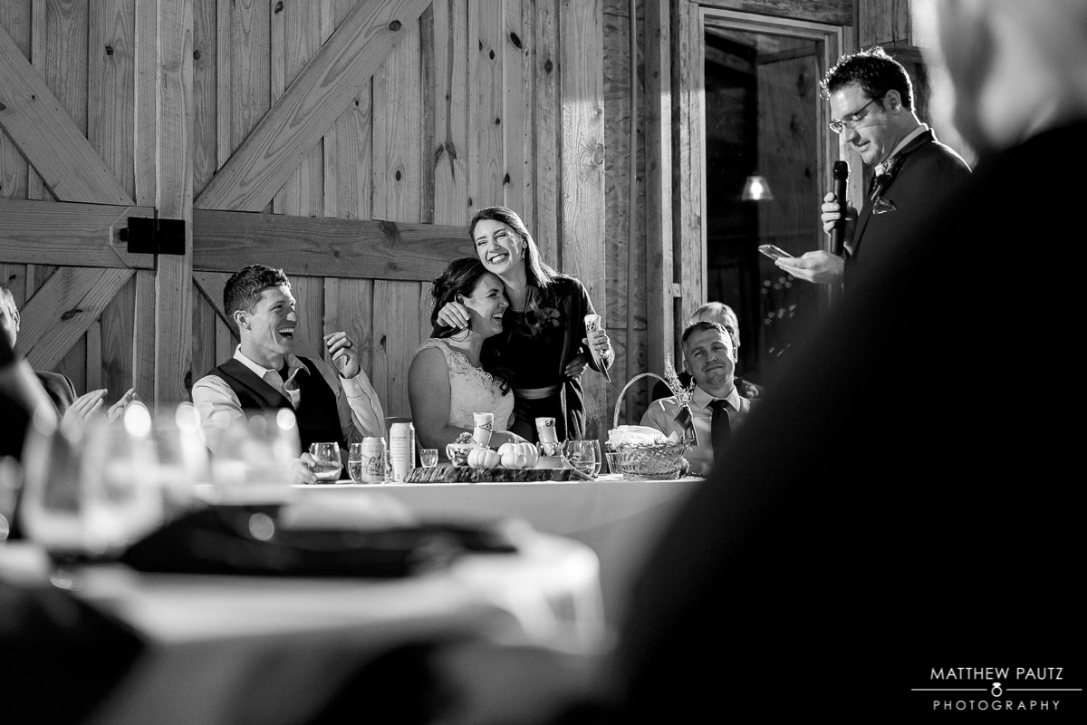 Wedding reception toasts at Charlyn Farms wedding