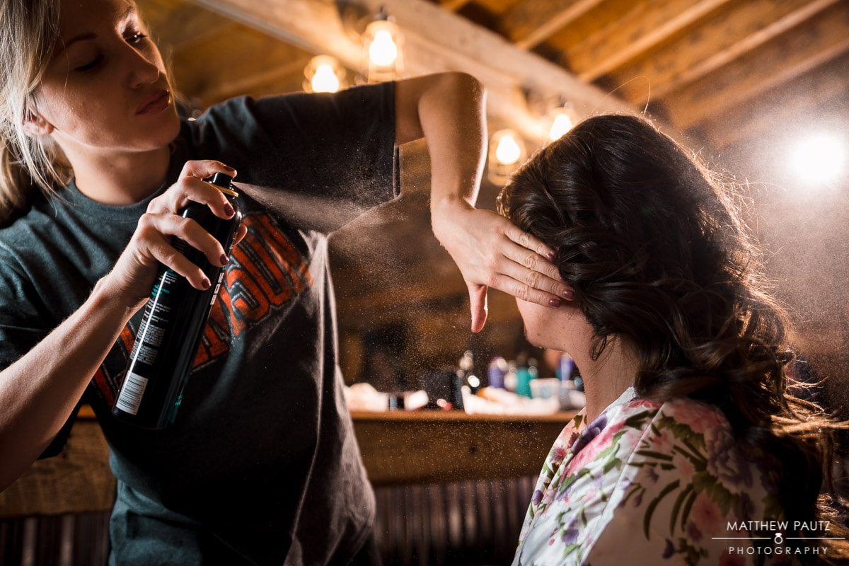 Bridal hair and makeup at Charlyn Farms