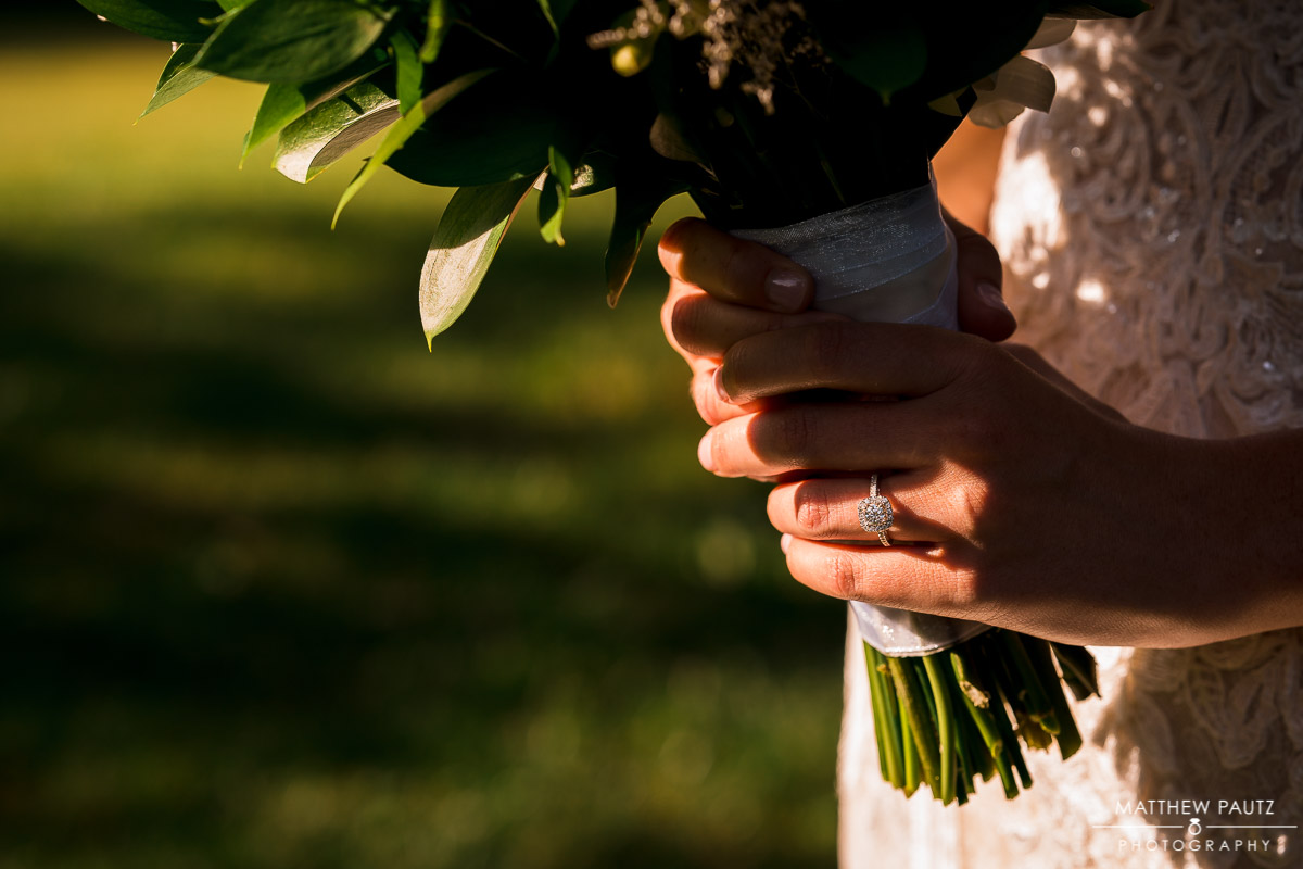 Closeup of bride holding bouquet