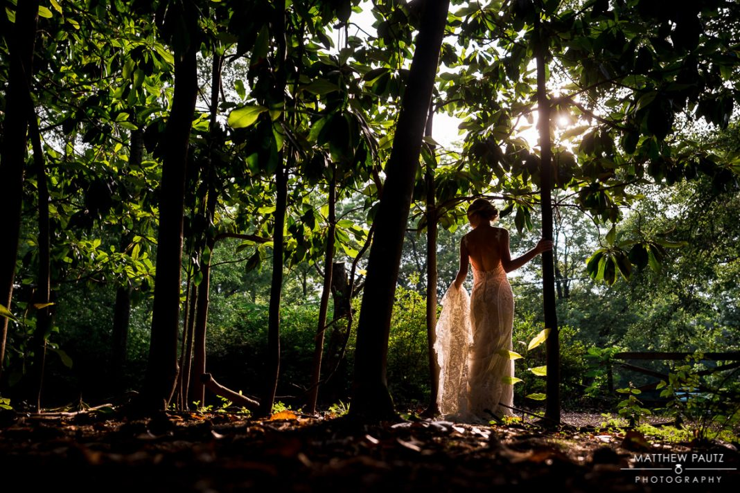 Sunset bridal portraits at Clevedale Inn