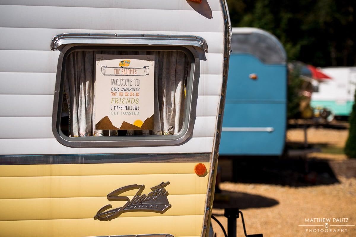 Junebug Retro RV wedding sign on camper