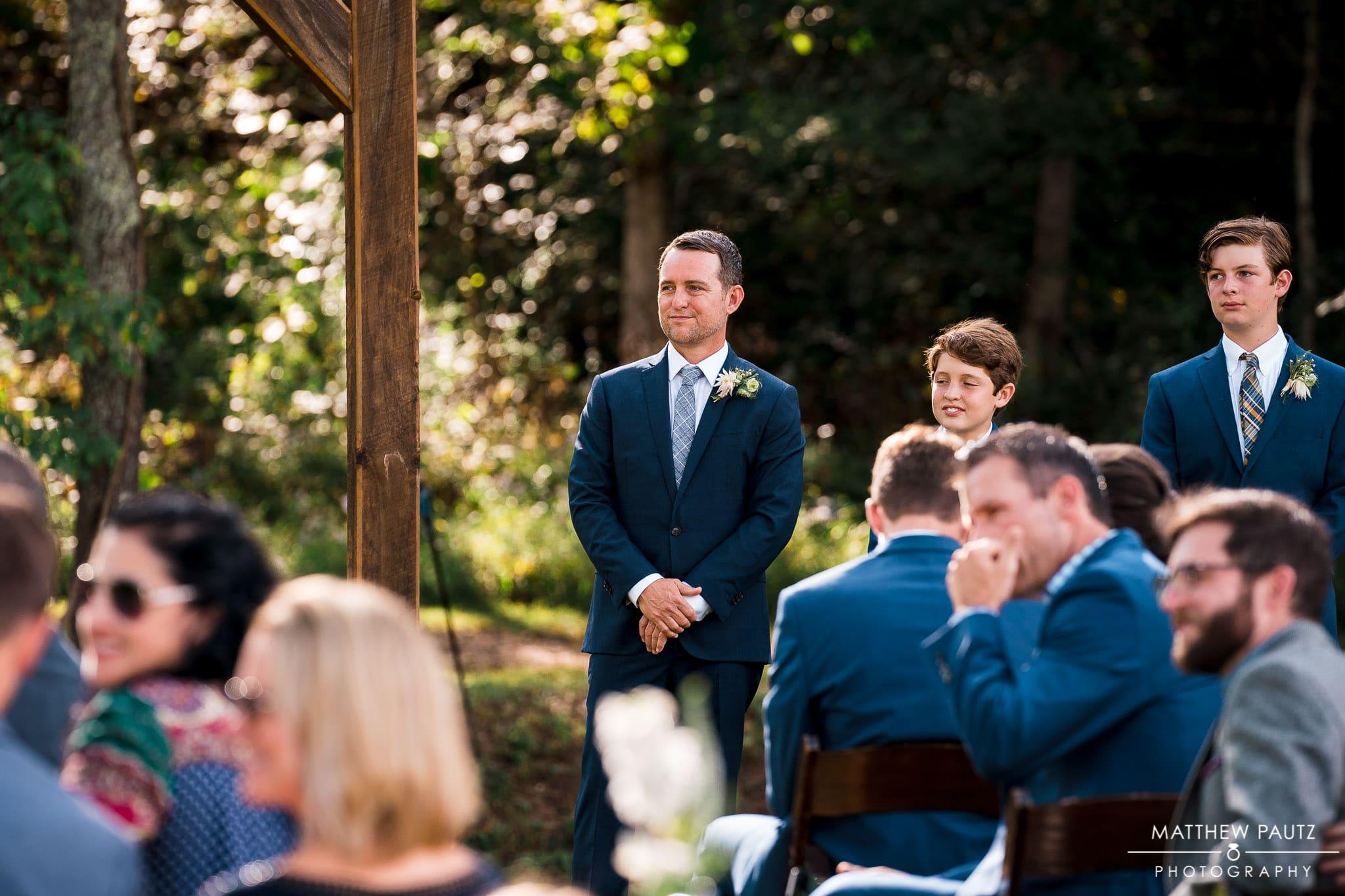 Outdoor wedding ceremony at Junebug Retro resort